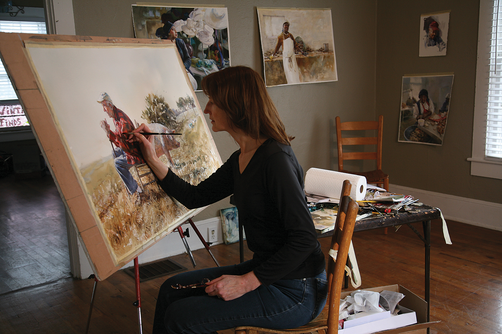 Mary-Whyte-painting-in-a-studio2 Заказать портрет
