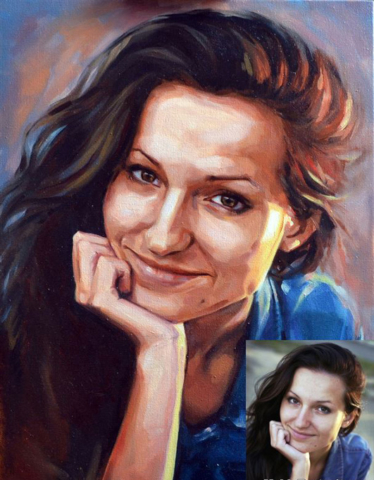 Girlfriend-portrait-from-photo-640x480 Реалистичный портрет (красками)